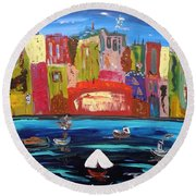 The Vista Of The City Round Beach Towel
