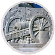 The Vittorio Emanuele Monument Marble Relief Of A Canon Standards Rome Italy Round Beach Towel