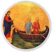 The Vocation Of The Apostle Peter Fragment 1311 Round Beach Towel
