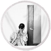 The Waiting Room Round Beach Towel