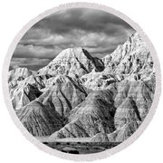 The Wall Black And White Round Beach Towel