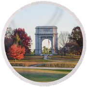 The Washington Memorial At Valley Forge Panorama Round Beach Towel