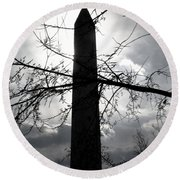 The Washington Monument - Black And White Round Beach Towel