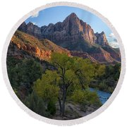 The Watchman And Virgin River Round Beach Towel