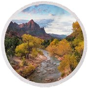 The Watchman At Sunrise Round Beach Towel
