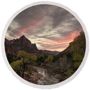 The Watchman Sunset Round Beach Towel