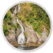 'the Water Of Life' Spring At Doubtful Sound Round Beach Towel