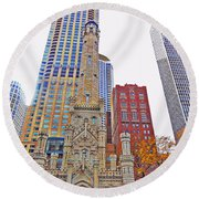 The Water Tower In Autumn Round Beach Towel