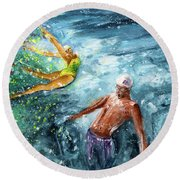 The Water Wall Round Beach Towel
