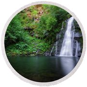 The Waterfall And Large Pool Of Vieiros Round Beach Towel