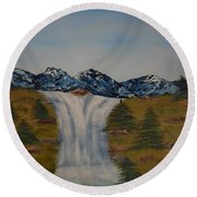 The Waterfall Round Beach Towel