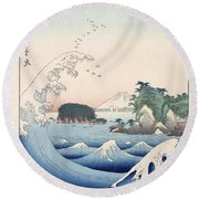 The Wave Round Beach Towel by Hiroshige