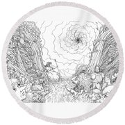 The Wave Of Time And Space Round Beach Towel