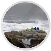 The Wave Watchers Round Beach Towel