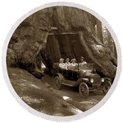 The Wawona Tree Mariposa Grove, Yosemite  Circa 1916 Round Beach Towel