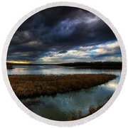 The Way Of The River Round Beach Towel