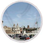 The Way To Piazza Venezia Round Beach Towel