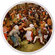 The Wedding Dance Round Beach Towel by Pieter the Elder Bruegel