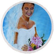 the wedding day of my daughter Daniela Round Beach Towel