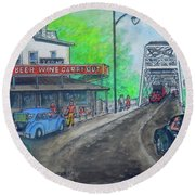 The West End Carryout At The Bridge Round Beach Towel