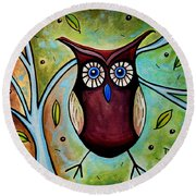 The Whimsical Owl Round Beach Towel
