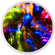 The Whirl Of Christmas Commerce Round Beach Towel