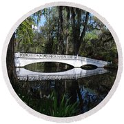 The White Bridge In Magnolia Gardens Charleston Round Beach Towel