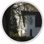 The White Church Round Beach Towel