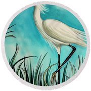 The White Egret Round Beach Towel