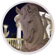 The White Horse Round Beach Towel