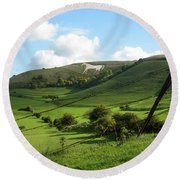 The White Horse Westbury England Round Beach Towel