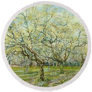 The White Orchard  Round Beach Towel