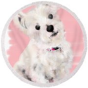 The White Pooch Round Beach Towel