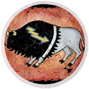 The White Sacred Buffalo Fresco Round Beach Towel