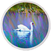 The White Swan Round Beach Towel by Bill Cannon