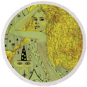 The White Witch Round Beach Towel