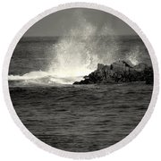 The Wild Pacific In Black And White Two Round Beach Towel
