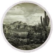 The Wild West Of The Superstitions  Round Beach Towel