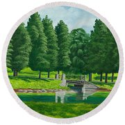 The Willow Path Round Beach Towel by Charlotte Blanchard
