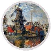 The Windmill Amsterdam Claude Monet 1874 Round Beach Towel