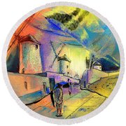 The Windmills Del Quixote 02 Round Beach Towel