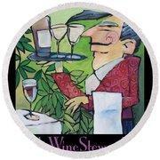 The Wine Steward - Poster Round Beach Towel
