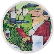 The Wine Steward Round Beach Towel by Tim Nyberg