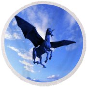 The Winged Horse Round Beach Towel
