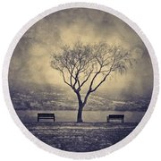 The Winter And The Benches Round Beach Towel