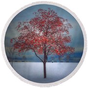 The Winter Berries Round Beach Towel