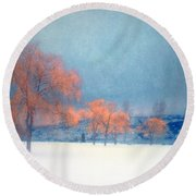 The Winter Blues Round Beach Towel
