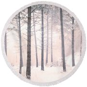 The Winter Forest Round Beach Towel