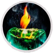 The Winter Of Fire And Ice Round Beach Towel