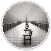 The Winter Pier Round Beach Towel